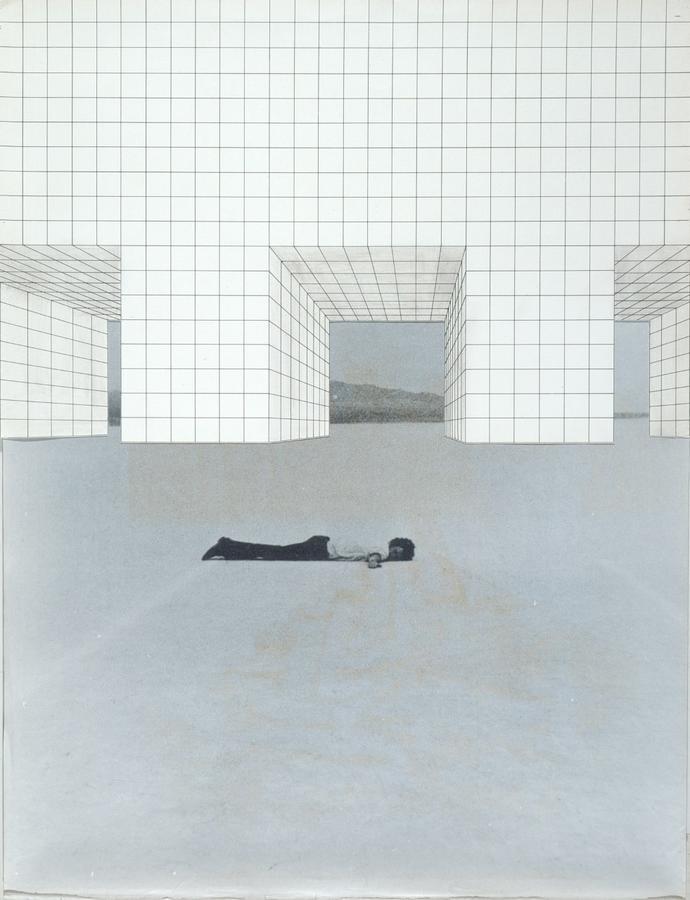 Superstudio, Il Monumento Continuo, 1969 – 1970, Con de Maria, 1969.<br> © Graphite pencil, collage on  print. Centre Pompidou, Mnam-CCI