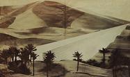 Superstudio, Il Monumento Continuo, 1969–1970, Nel deserto del Sahara, 1969. Graphite on paper, mounted on photograph printed on rotogravure, scotch.