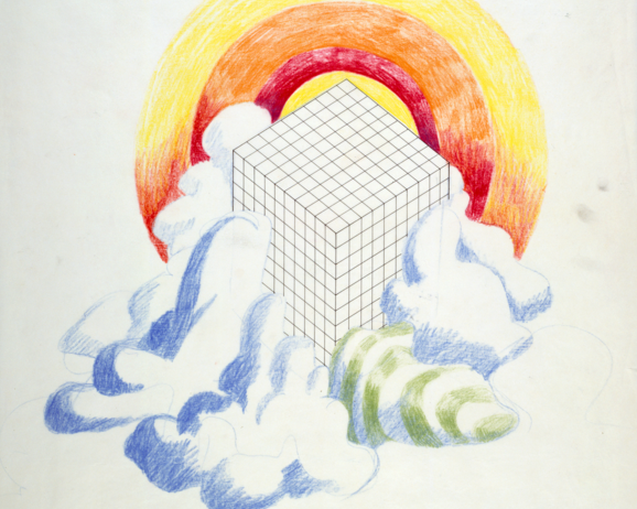 Superstudio, Untitled, 1968. Oil pastels and China ink on tracing paper. Centre Pompidou, Mnam-CCI